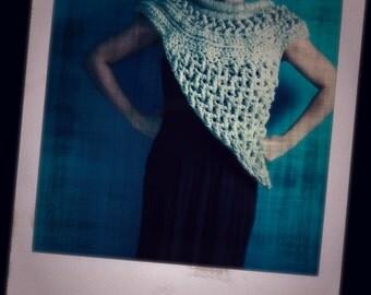 Crochet Grey Cowl,Katniss Inspired Knit Cowl,Huntress Cowl,Rustic Crossbody Shawl,Catching Fire Wrap,Katniss Scarf,Bulky,Chunky Knit,Gift
