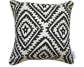 SALE: Black Jagged Diamond cushion cover on natural linen
