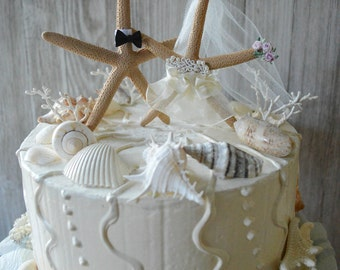 starfish wedding cake topper decorated ivory veil destination wedding bride and groom pencil starfish Mr and Mrs beach weddings beach themed