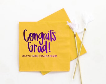 Graduation Party Napkins Class of 2017 Personalized Graduation Napkins Congrats Grad Decorations Custom Printed Beverage Napkins LSU Tigers