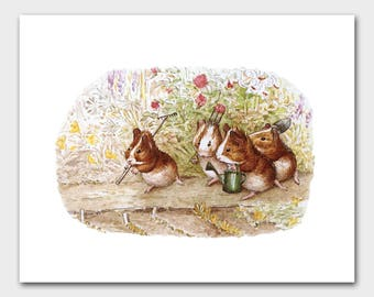 "Guinea Pig Art, Woodland Print (Beatrix Potter Baby Nursery Wall Decor) ""Our Garden"" -- Peter Rabbit's Friends"