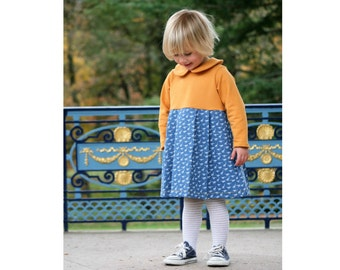 PAULINE Girl Baby Girl Dress sewing pattern Pdf, Jersey Knit Dress pattern, Short and Long Sleeves, toddler, newborn up to 10 yrs