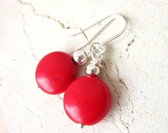 Red Turquoise Dangle Earrings. Turquoise Howlite Dangle Earrings. Red Turquoise Drop Earrings. Turquoise Jewelry. Red Jewelry
