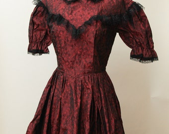 Red & Black Prairie Costume Dress | Rosebud Dresses Victorian Costume Dress | Steampunk Westworld Costume | Western Inspired Lace Dress