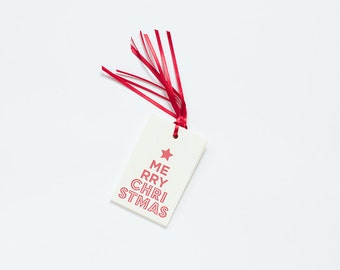 Letterpress Merry Christmas Star Gift Tags