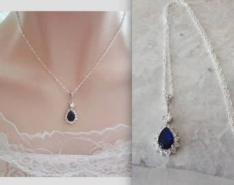 Blue Sapphire necklace, AAA+ Cubic Zirconia jewelry set, Halo, Blue sapphire brides necklace, Wedding something blue, Sterling chain, KATE