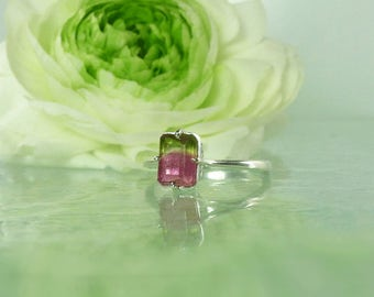 Unique Mothers Day Jewelry, Watermelon Tourmaline Ring, Tourmaline Ring, Tourmaline Silver Ring, Natural Tourmaline, Mothers day Gift