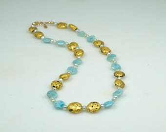 """Necklace in Larimar and Gold, 23 Karat Gold Leaf on Stone, Faceted Larimar, Freshwater Pearls, Toggle Clasp, Blue and Gold, 21.5"""", Gilded"""