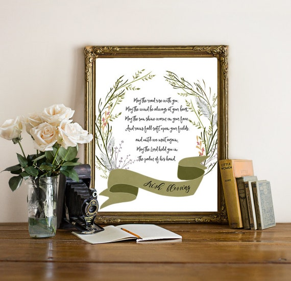 Irish blessing watercolor digital print home decor wall art for Irish home decorations