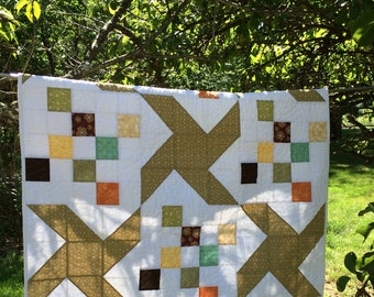 Modern Quilt Pinwheels, Large Pinwheels, Handmade Quilt, Woodland Quilt, Lap Quilt, Baby Blanket, Gift for Her,  Wall Art, Christmas Gift