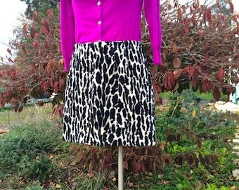 Snow Leopard Mod Mini Skirt - 1990s Vintage M Size 30 - Blue, Black & White - Guess 8/10 - Grunge