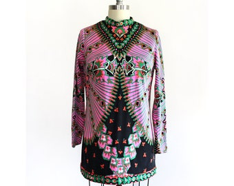 Vintage Psychedelic Long Sleeve Blouse /  1960s 1970s Hippie Boho Micro Mini Dress / Small Medium