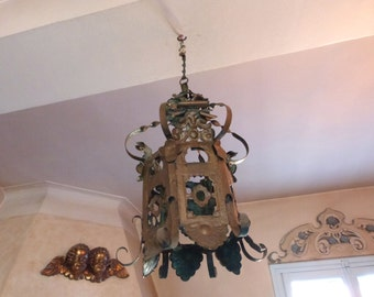 Antique French gold tole ware lantern chandelier floral decor toleware lighting hanging ceiling pendant light lamp French gothic home decor