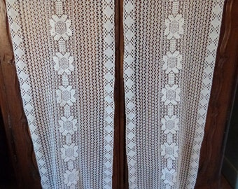 Pair antique French crocheted lace curtains drapes handmade window drapery panels floral linen pair hand crocheted lace curtains w fringes