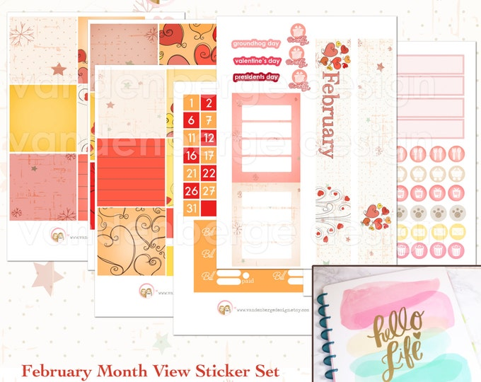 BIG Happy Planner February Month View Kit - sized to fit the MAMBI Big Happy Planner
