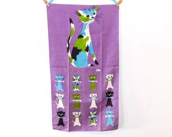 Midcentury Vintage Tammis Keefe Feline Genetics Purple Linen Tea Towel - Deadstock