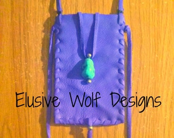 Purple Blue Neck Pouch - Leather Neck Bags - Phone Case - Phone Pouch - Leather Pouches - Elusive Wolf