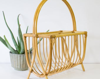Bamboo Bentwood Magazine Holder / Magazine Rack, Basket Storage, Decor