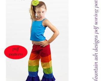 Rainbow pants sewing pattern Patchwork Pants pdf sewing pattern ebook ruffle pants wide leg pants