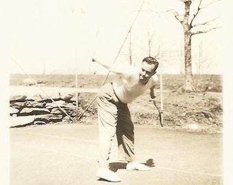 "Vintage Photo ""Practicing His Back Hand"" Tennis Racquet Tennis Court Found Vernacular Snapshot"