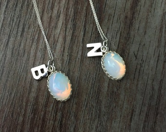 Silver Initial Personalised Necklace, Moonstone Opal Birthstone Jewellery, Name Necklace, Bridesmaid Gift, Necklace Set