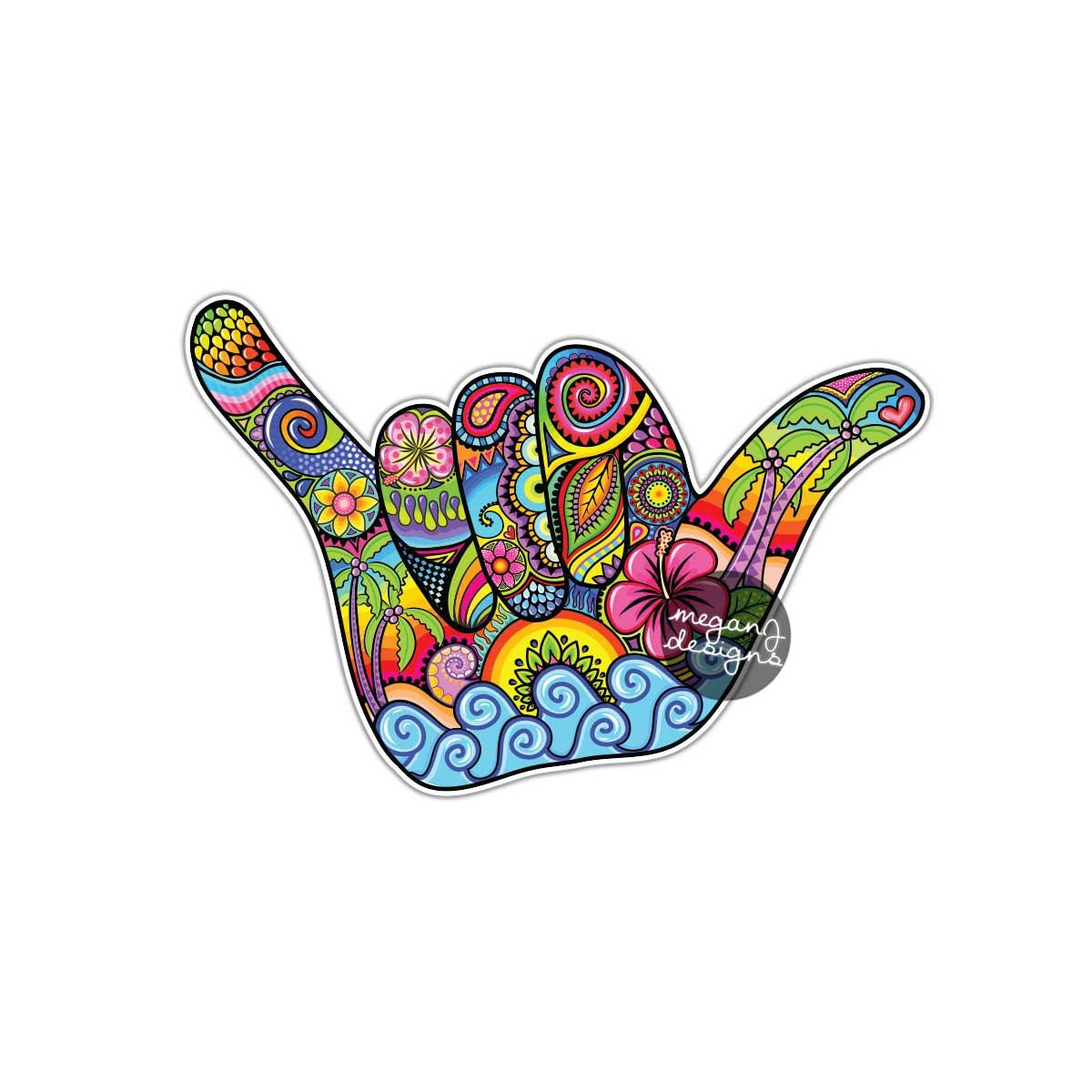 Wall Stickers How To Apply Shaka Sign Hang Loose Hand Sticker Hawaii Decal Colorful Car