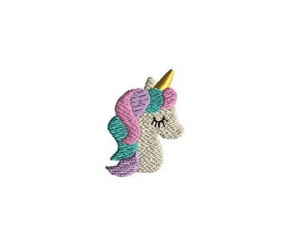 Mini Unicorn Head Machine Embroidery Design-INSTANT DOWNLOAD-3 sizes