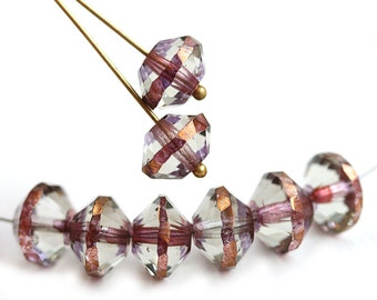 7x11mm Rivoli beads, Crystal with Copper band Saucer czech glass beads, faceted, fire polished - 6pc - 2900
