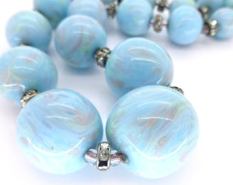 Vintage 1940s French Marbled Pastel Blue Glass Bead Necklace
