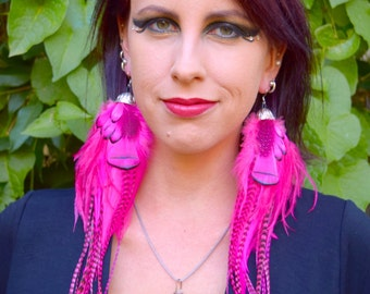 PINK PUNKSTER Long Feather Earrings