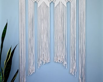"Large Macrame Wall Hanging - Natural White Cotton Rope 36"" Dowel - Boho Chic Home, Nursery Decor, Wedding Backdrop, Curtain - Made To Order"