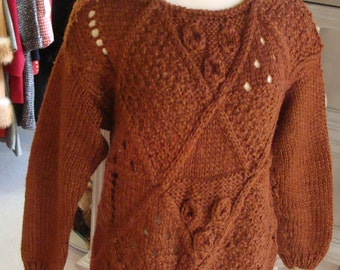 70's 80's CINNAMON CHUNKY KNIT pullover sweater M L vintage