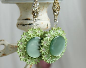 Antique  Celluloid assemblage earrings rhinestones mint green connector  statement lightweight vintage jewelry