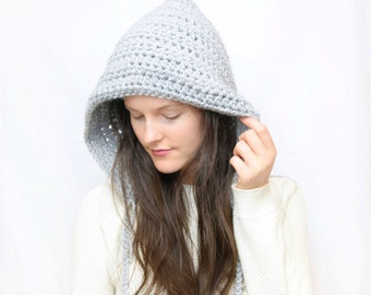 Knitted Hooded Pixie Hat With Ties and Tassels / Chunky Grey Knit Hood, Cozy Winter Knit Hat