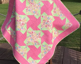 """Chunky Pinwheels In Confetti Sprinkled Pink and Floral Hearts All Together In This 42"""" X 42"""" Quilt"""