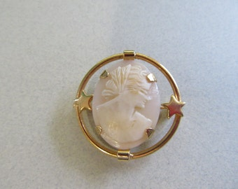 Genuine Carved Shell Cameo Pin Brooch Vintage Costume Jewelry Victorian Style Women Ladies