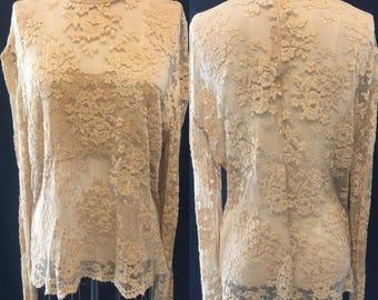 Sexy lace 1990 creme Vintage blouse large