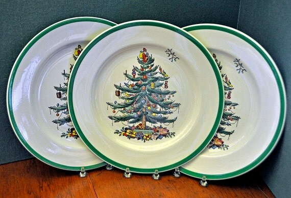 "Vintage 1938-57 Three 3 COPELAND/SPODE CHRISTMAS Tree (Green Trim) S3324 Dinner Plates 10 1/2"" Early England Stamp Exc Cond – Some Crazing"