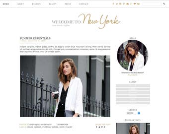 "Blogger Template, Premade Blog Design ""Welcome to New York"" Instant Digital Download - Gold, minimalist"