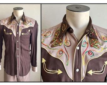 Vintage 1950s 60s H Bar C Ranchwear Western Shirt Pants Set Cowboy Boot Applique
