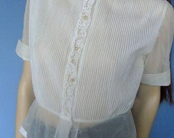 40s off white blouse, semi sheer blouse, vintage blouse