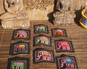 Hmong Hand Cross Stitch Elephant Textile,Set Of 9, Hand Needlework Patch, Hmong Textile,