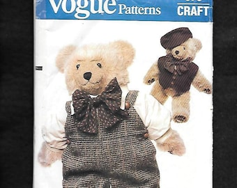 Vintage 1980's Vogue 570 Clothes For Your Vogue Bear, By Linda Carr, Includes Overalls, Shirt, Bow Tie, Hat, Vest And Shoes