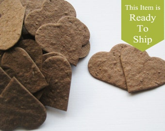 Earth Brown Plantable Seed Paper Confetti Hearts - READY-TO-SHIP - Eco Friendly, Wedding Favors, Bridal Shower Favors, Baby Shower Favors