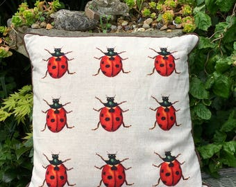 Ladybird cushion. Swarm of Ladybirds. FREE UK P & P. Insect scatter pillow.