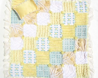 """Small Doll Quilt Yellow Chenille Patchwork Quilt Quilt for 14"""" Doll Doll Blanket Car Seat Blanket Small Doll Blanket Yellow Doll Quilt Lovey"""