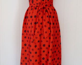 70's Gradient Daisy Print Mod Maxi Dress Full Length Floral Red Black Graphic Yves Jennet Dress S M