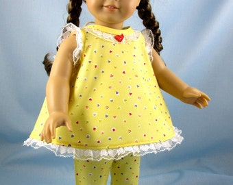 18 Inch Doll Clothes - Pajamas to fit American Girl Doll - Yellow Heart Multi Pajama - Doll PJs