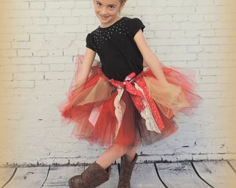 Tutu for Girls, country girl tulle skirt, bandana tutu skirt,cowgirl tutu skirt, cowgirl birthday tutu sewn tutu, red black tan, bandanna