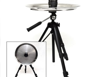 Tiltop Tripod Table featuring Adjustable Height, Pentax Lens and Serving Dishes